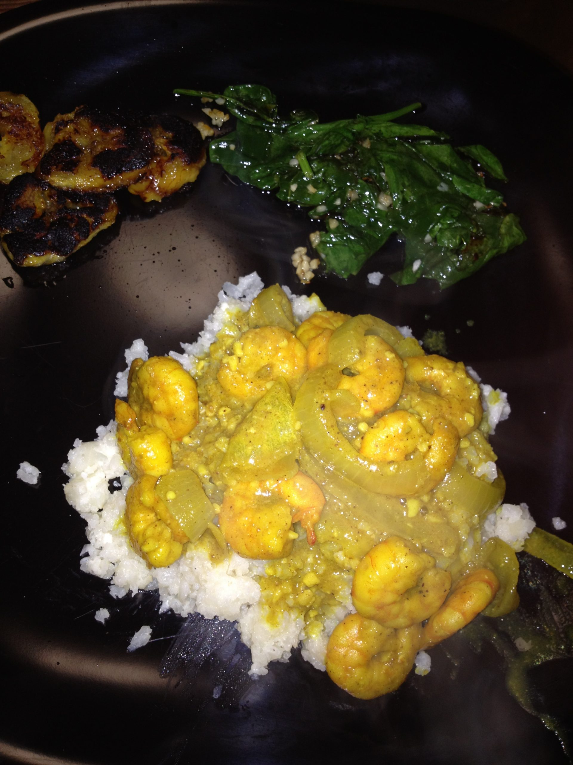Pineapple Curry Shrimp with Sauteed Spinach