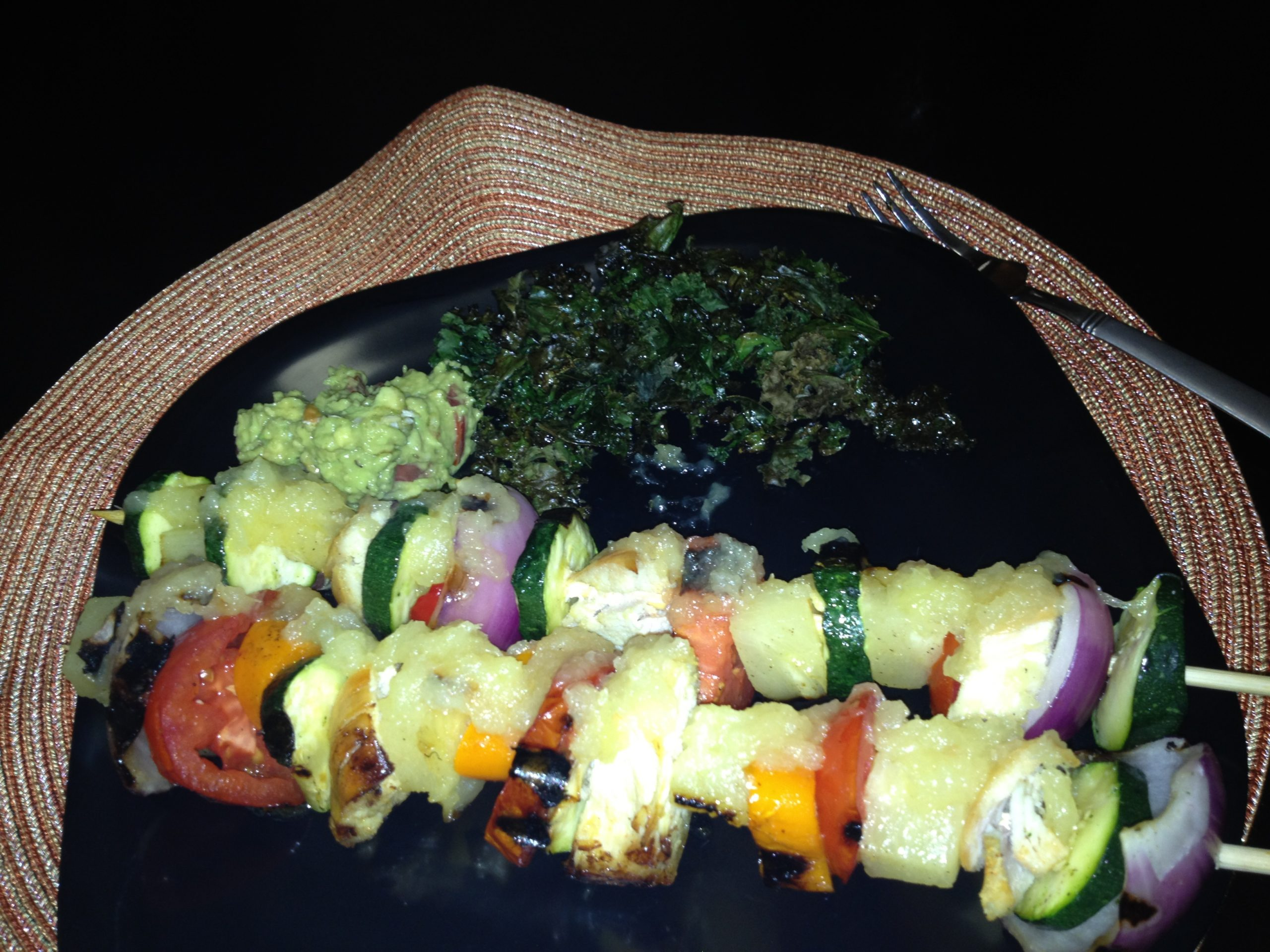 Pineapple Glazed Chicken Kabobs with a side of Kale Chips and Guacamole